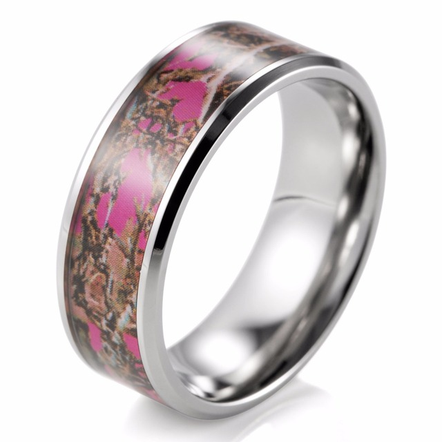 8mm Pink Muddy Girl Camo Ring Beveled Titanium Camouflage Wedding