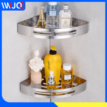 цена на Bathroom Shelf Stainless Steel Organizer Corner Storage Holder Shelves Bathroom Accessories Shower Rack Basket Shampoo Holder