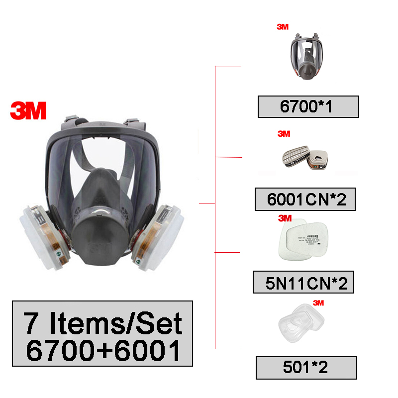 3M 6700 Full Facepiece Mask Size Small with 6001 Gas Cartridges Anti-organic Vapor 7 Pieces Suit R824033M 6700 Full Facepiece Mask Size Small with 6001 Gas Cartridges Anti-organic Vapor 7 Pieces Suit R82403
