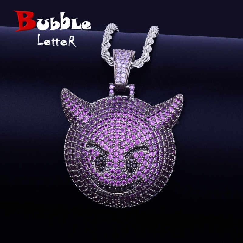 Purple Demon Emoji Pendant With Tennis Chain Gold Silver Color Bling Cubic Zircon Men's Hip hop Necklace Jewelry For Gift
