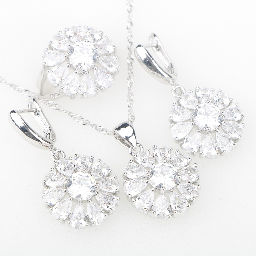 White CZ Silver 925 Costume Jewelry Sets Decorations For Women Earrings Rings Pendant Necklace Bridal Set of Jewelery Free Box