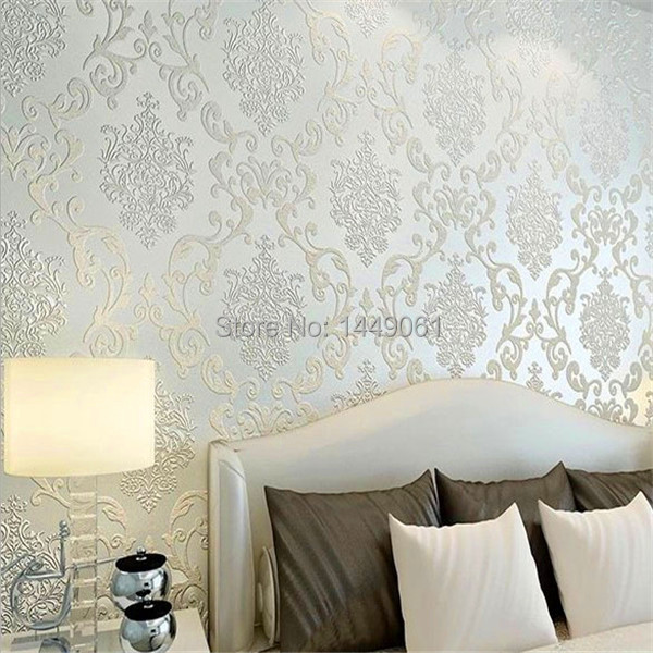 2015 Papel De Parede Paper Roll Mural Luxury Flock Non Woven Glitter Metallic Silver Damask Design Textured Wallcoverings Wall In Wallpapers From Home