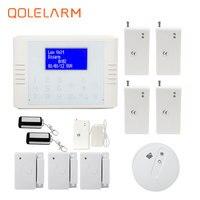 433 MHz pantalla LCD gsm pstn sistema de seguridad casero alarma antirrobo detector de fugas de agua vibración sensor de temperatura del detector de humo