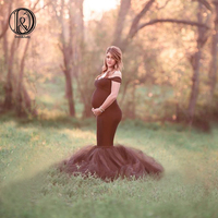 D&J Black Tulle Maternity Photography Dresses Maternity Tulle Fitted Long Photo Dress Pregnant Photography Fancy Gown