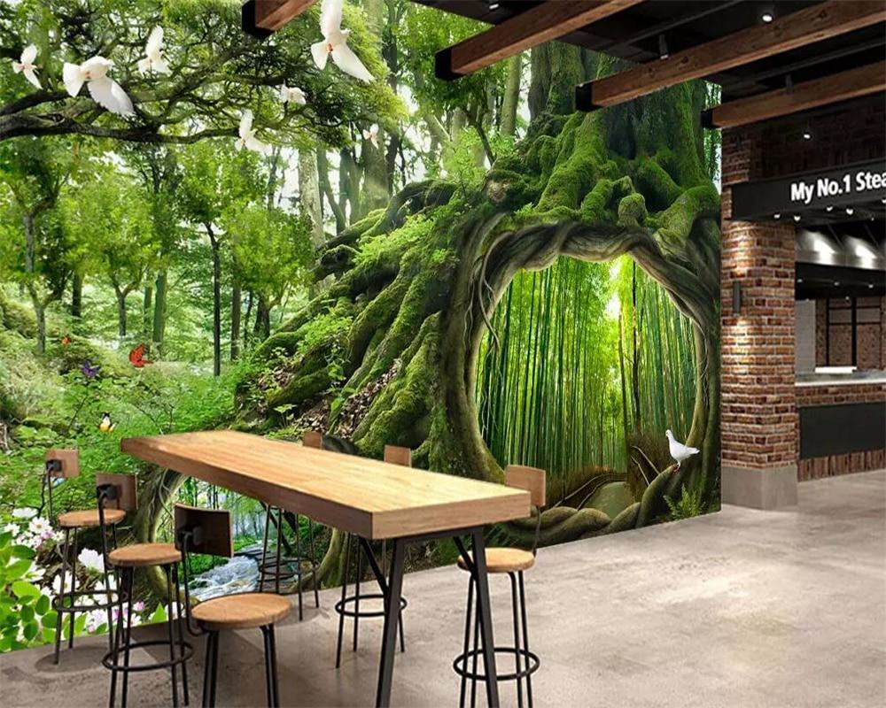 Beibehang Wallpaper Mural Green Tree Forest Waterfall