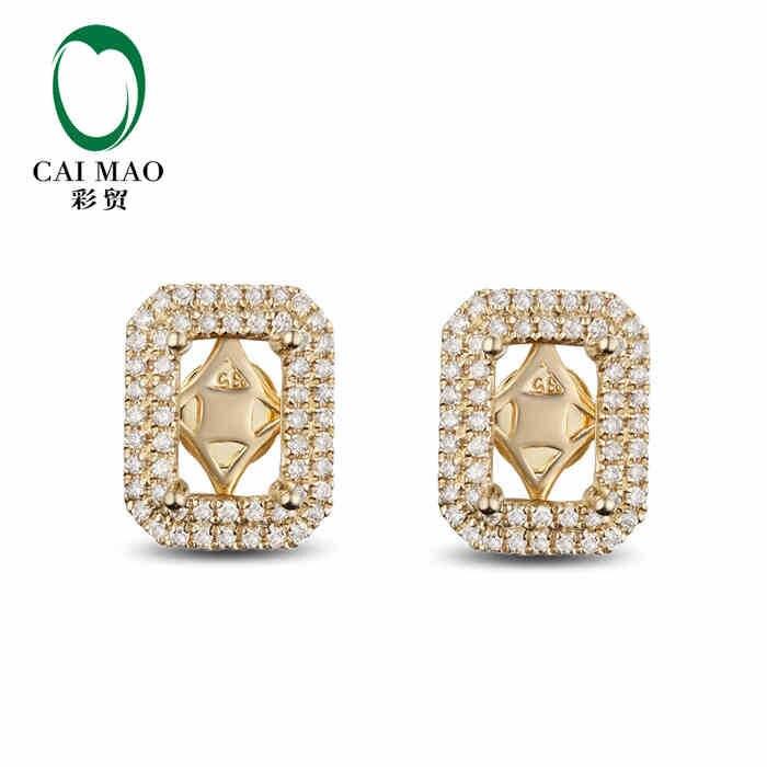 Réglages de coupe émeraude demi-monture CaiMao et diamants de 0,45ct 14 k bijoux de fiançailles en or jaune