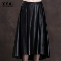 2018 New Fashion Asymmetrical High Quality Genuine Leather Sheepskin Skirts Women Female Knee Length High Street Falda Plus Size