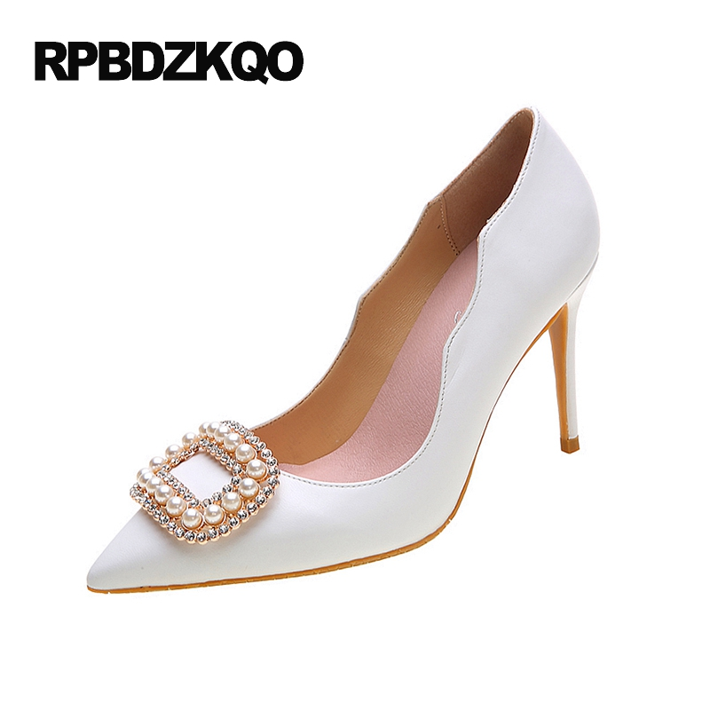 Jewel Rhinestone White Big Size Wedding Super Crystal 33 Thin Ladies Special Pointed Toe Pearl High Heels Shoes Pumps Chinese crystal wedding shoes women red rhinestone suede jewel pointed toe high heels black size 33 ankle strap super pumps bride thin