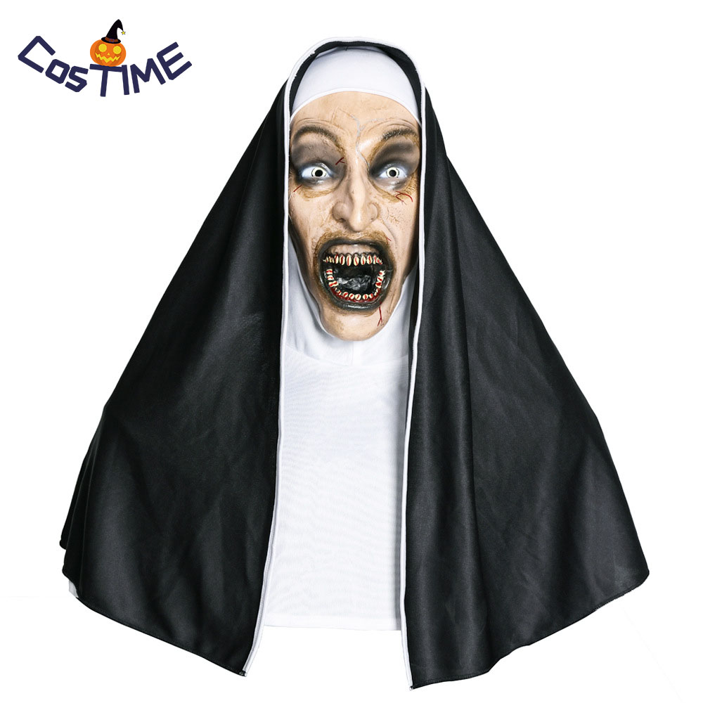 The Nun Horror Mask 2018 New Movie Cosplay The Conjuring Valak Scary Nun Mask With Headscarf Halloween Costumes Accessories
