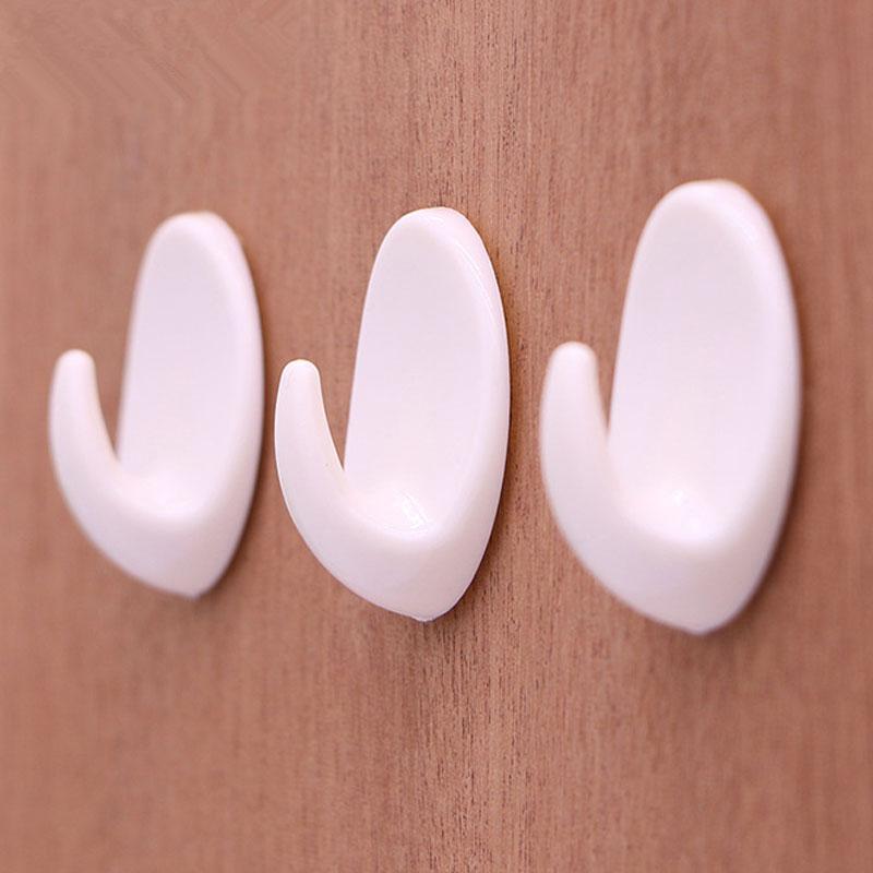 5pcs/set Kitchen Bathroom Sticky Holder Wall Door Hook White Plastic Oval Self Adhesive Hanger For Bag Keys Towel