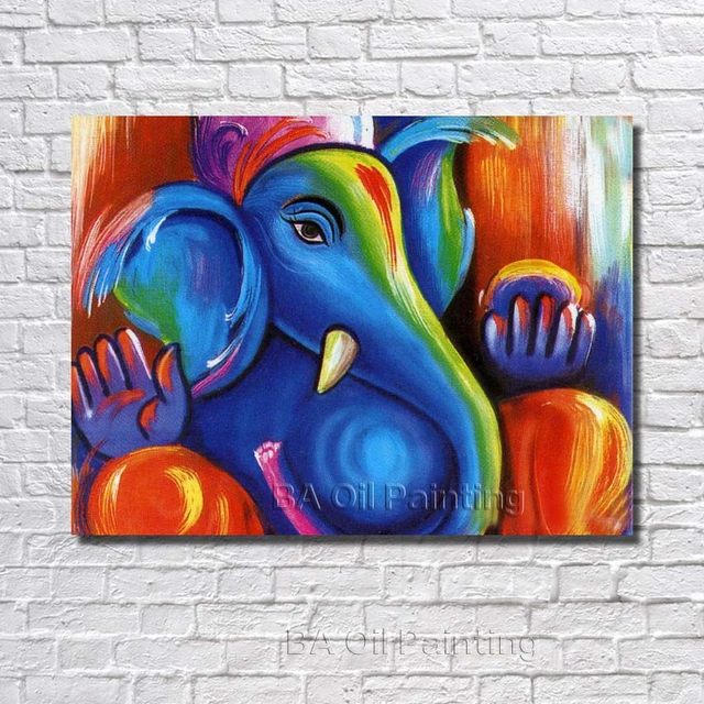 free shipping handpainted new modern cute baby elephant oil painting on canvas paintings wall picture home