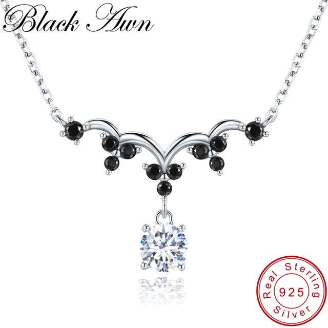 [BLACK AWN] Classic 925 Sterling Silver Jewelry Elegant Necklace for Women Silver 925 Jewelry Necklaces Pendants K037