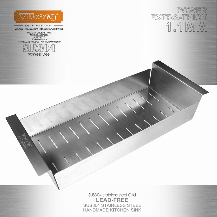 VIBORG Deluxe 403x185x80mm SUS304 Stainless Steel Lead-free Kitchen Sink Rinse Draining Basket Rack Strainer