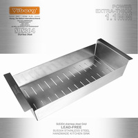 VIBORG Deluxe 400x185x80mm SUS304 Stainless Steel Lead Free Kitchen Sink Rinse Straining Basket Rack Strainer
