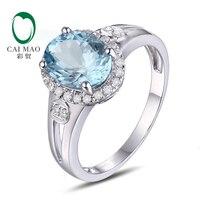 1.50ct Natural Blue Aquamarine 10k White Gold & 0.24ct Natural Diamond Engagement Ring Jewelry