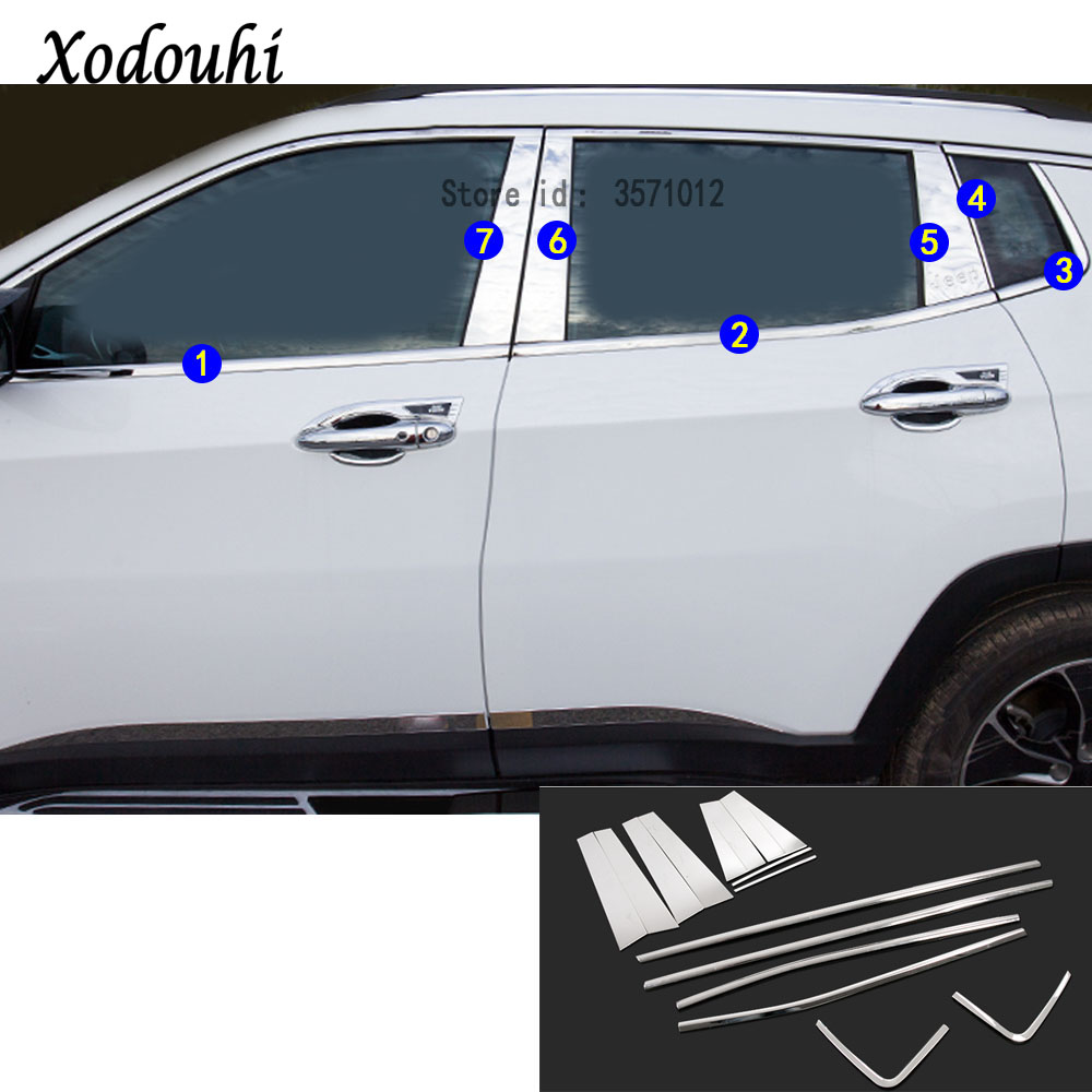 For Jeep Compass 2017 2018 2019 Car styling stick stainless steel glass window garnish pillar middle column trim hood Sequin