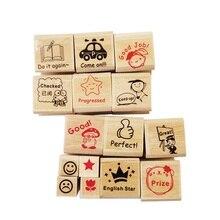 15pcs/set Teaching Stamp Cute Cartoon Children Reviews Supplies For Kindergarten School Teacher Kid Gift Rubber