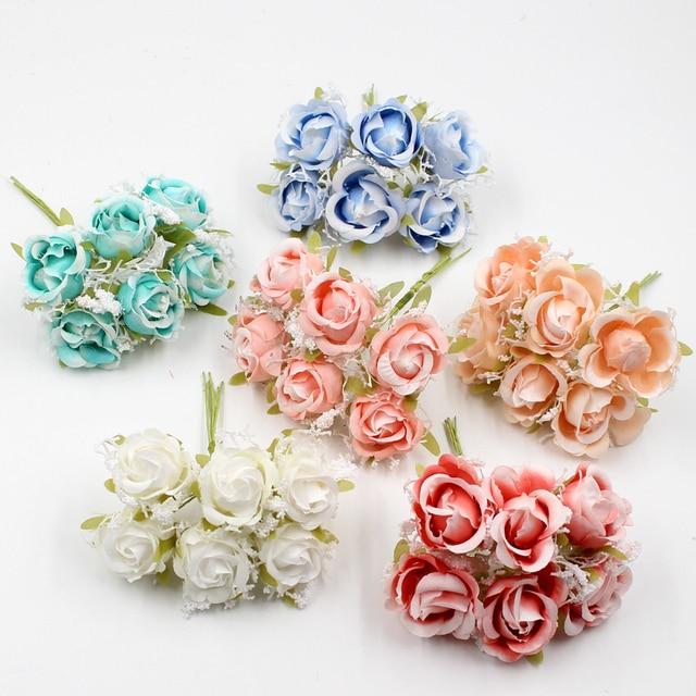 6pcs White Lace high quality Silk Rose Bouquet