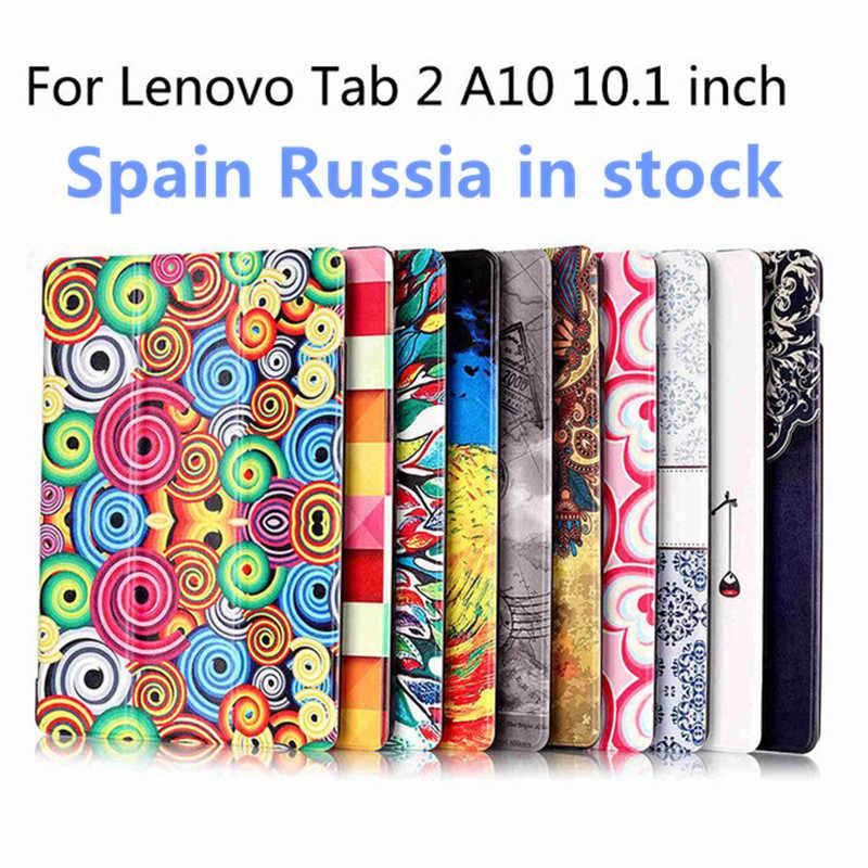 Sıcak renkli baskı deri kapak için Lenovo tab 2 A10 30 A10-70F Tab 3 10 artı TB-X103F 10.1 mıknatıs akıllı folio kılıf + kalem + film