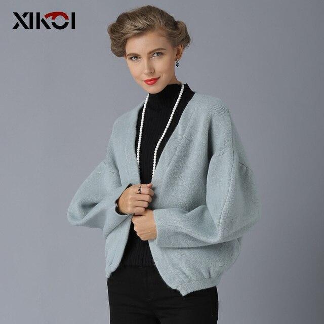 XIKOI Phụ Nữ Denim Áo Khoác Rắn O-Cổ Chiếc Áo Len Nữ Dày Giữ ấm Người Phụ Nữ Mở Stitch Đan Áo Khoác 2018