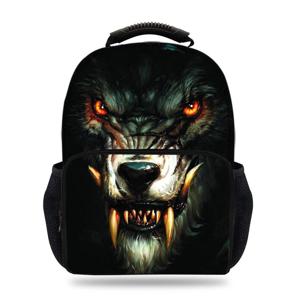 2d9c1f0bcb5b 15inch Cool Fet Bag For Children Wolf Backpack For Kids School Bookbags For  Girls Boys
