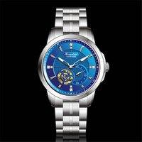 Hcandice Azul Dial Hombres Automáticos de los Relojes Mecánicos de Acero Inoxidable Cristal de Zafiro de Nuevo Negocio de Cristal Reloj de Pulsera Masculino