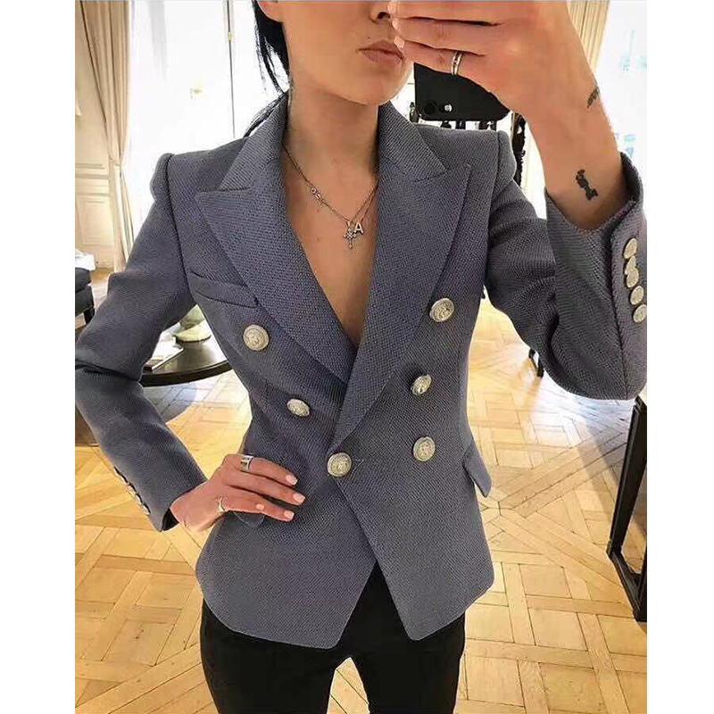 2019 New Fashion Light Blue Blazers Women Double-breasted Silver Metal Lion Head Button Thick Work Office Lady Blazer Coats
