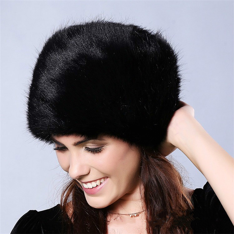 2c0fa3d9554 Fashion Women Lady Faux Fur Cossack Style Russian Winter Soft Ski Hats Warm  Round Flat Cap Female Headgear-in Bomber Hats from Apparel Accessories on  ...