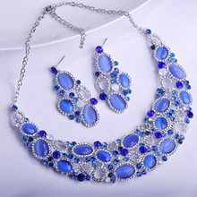 ФОТО plkuet luxurious bridal for women  jewelry sets necklace earrings set alloy the cat's eye wedding banquet accessories.