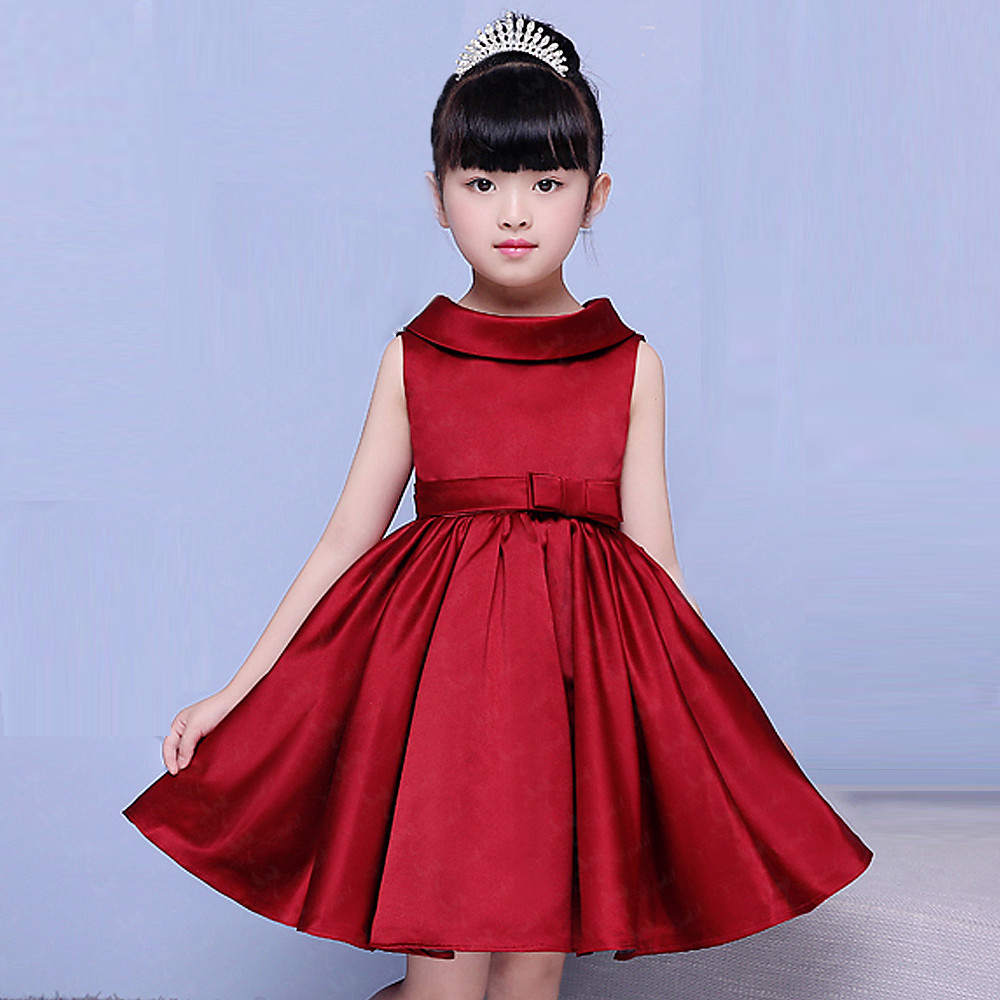 FG59 Real Pictures Yiaibridal   Flower     Girl     Dress   Satin Red Ball Gown