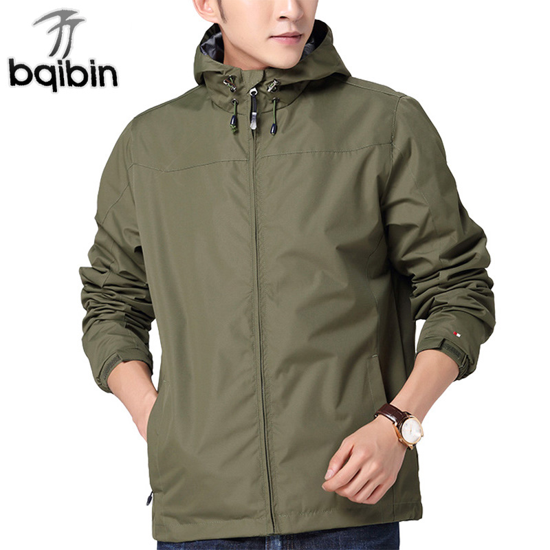 Windbreaker Men 2018 New Spring Fashion Mens Windproof Solid Casual Hooded Bomber Jackets Loose Pockets Coat Men S-3XL