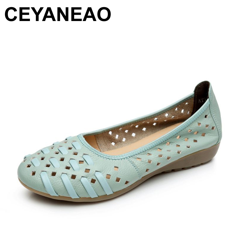 CEYANEAO Women Shoes Woman Fashion Genuine Leather Flat Sandals Woman Casual Comfortable Soft Sandals women's wedges shoes 32 43 big size summer woman platform sandals fashion women soft leather casual silver gold gladiator wedges women shoes h19