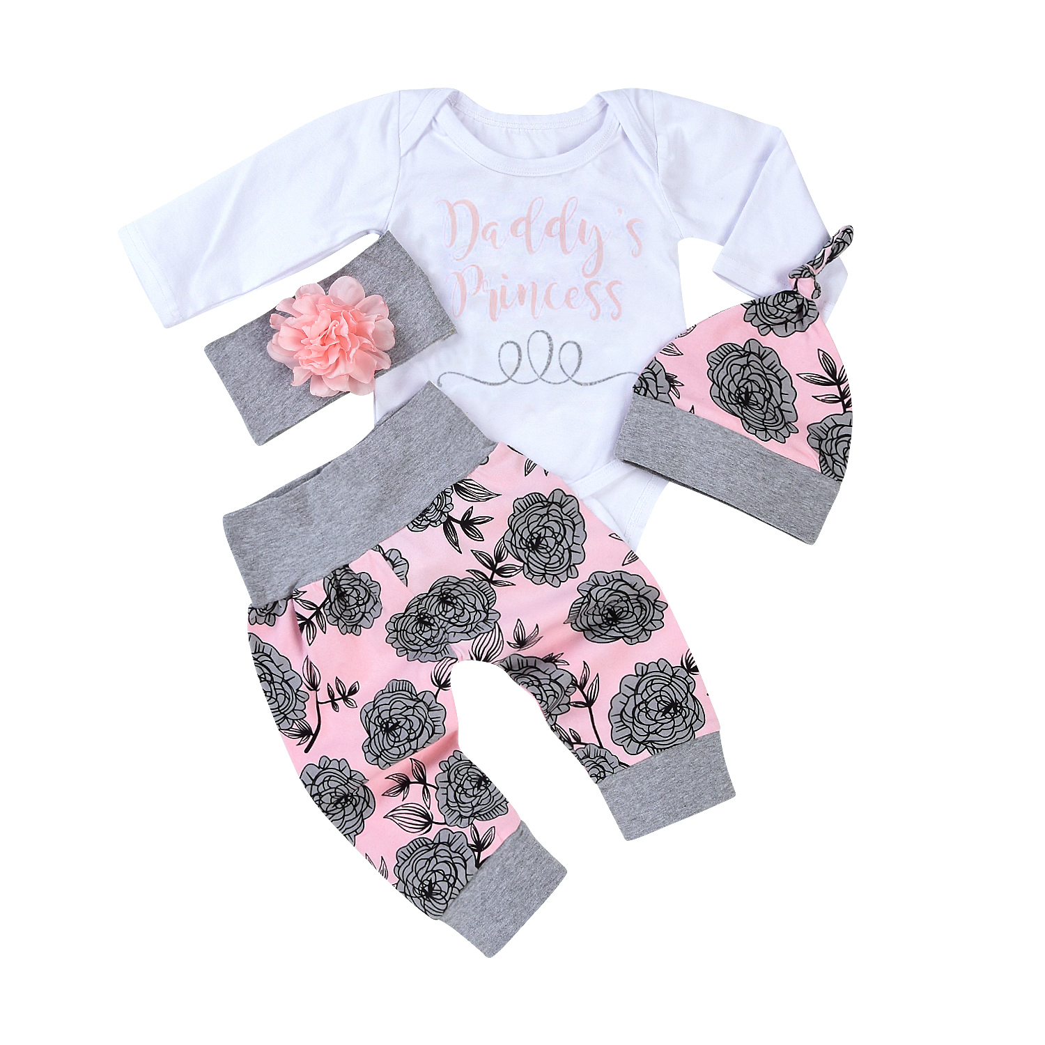 Newborn 4Pcs Baby Girl Clothes Set Autumn Fashion printing Infantil Cotton Baby Clothing Set Baby Romper+Pants+hat+Headband