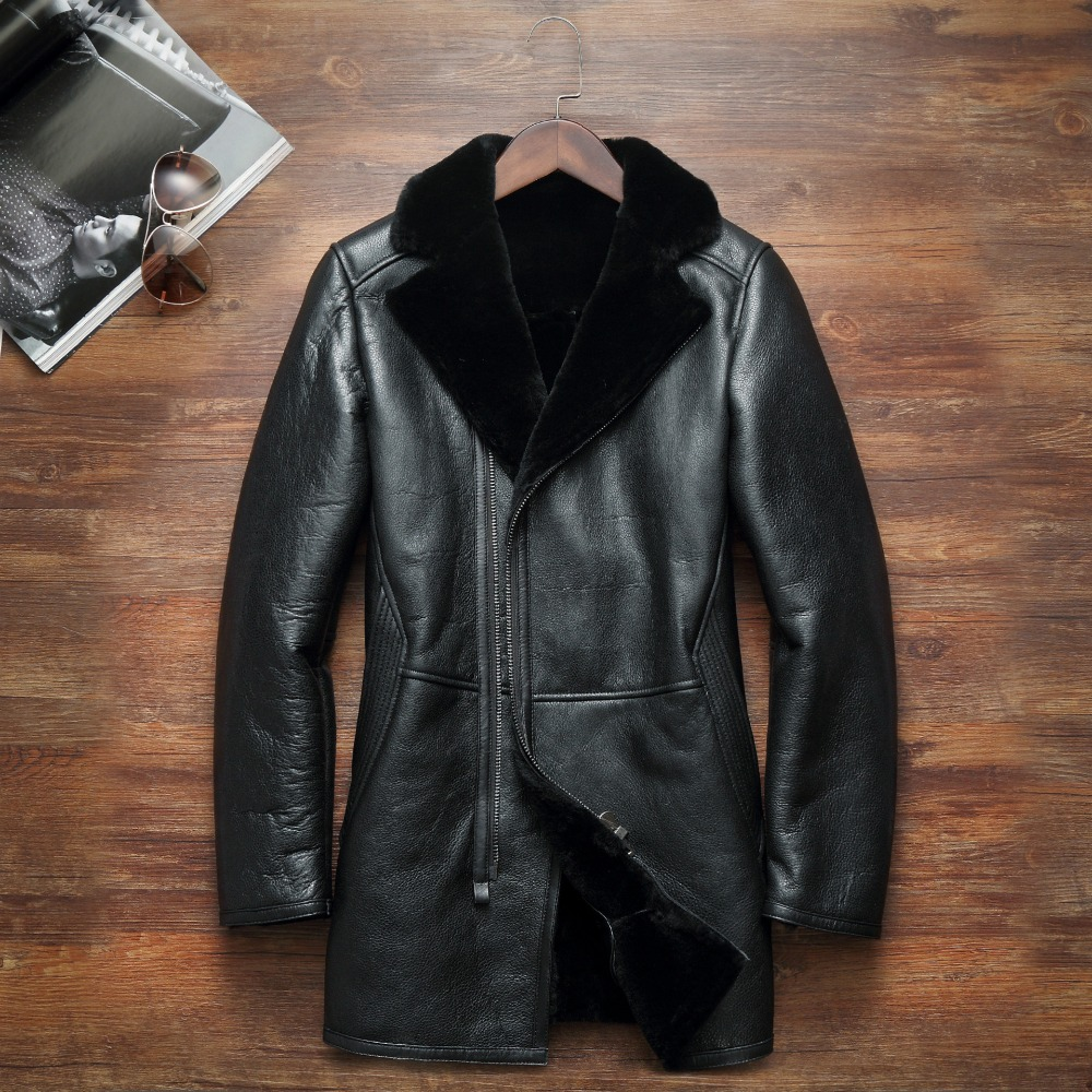 HNM004 Brand High quality men Sheep skin leather jackets/American raccoon dog Suit collar Business Genuine Raccoon fur liner
