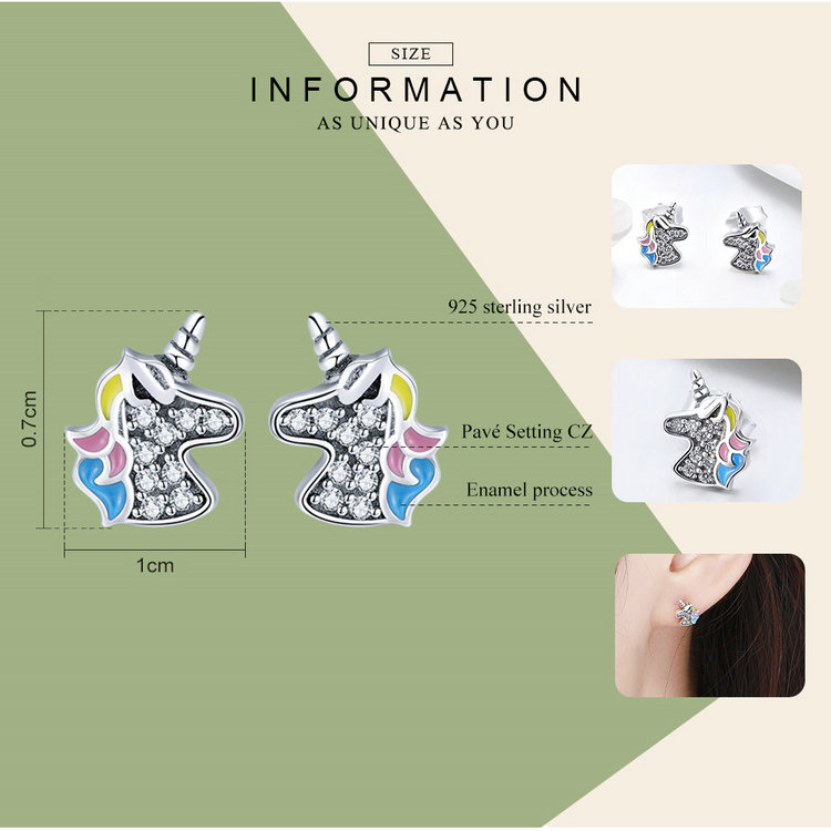 100% 925 Sterling Silver Clear CZ Unicorn Stud Earrings