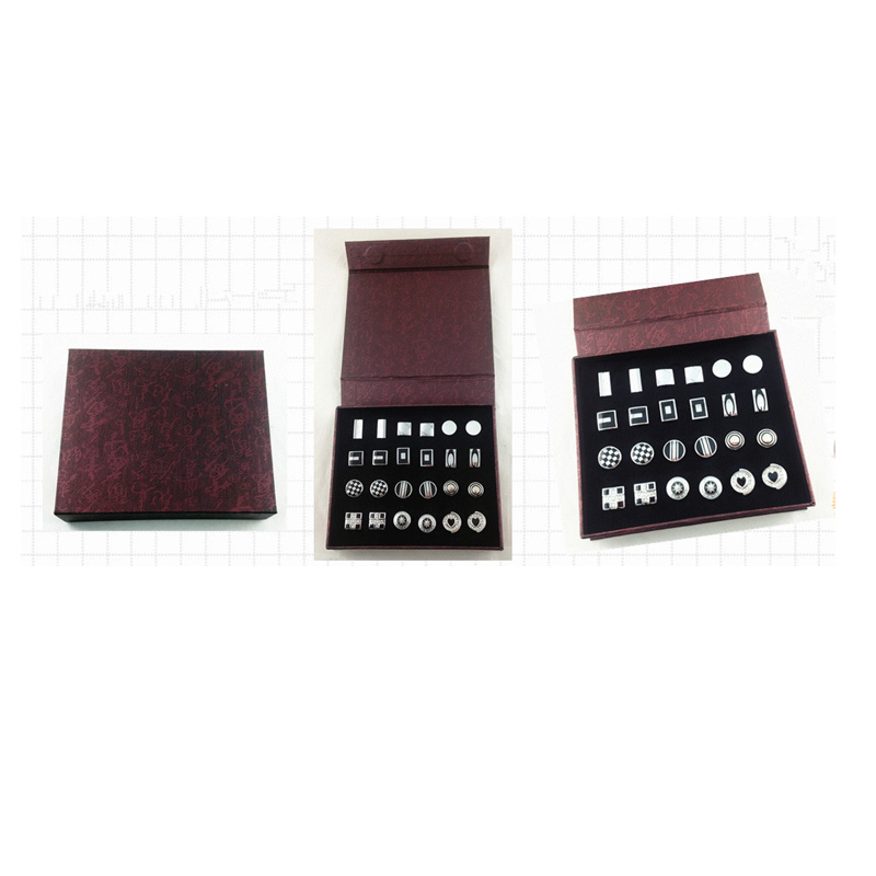 UJOY 12 Pair Chinese Red Pattern Classic Cufflinks Storage Box Paper Made Velvet Inner Gift Box CTB201