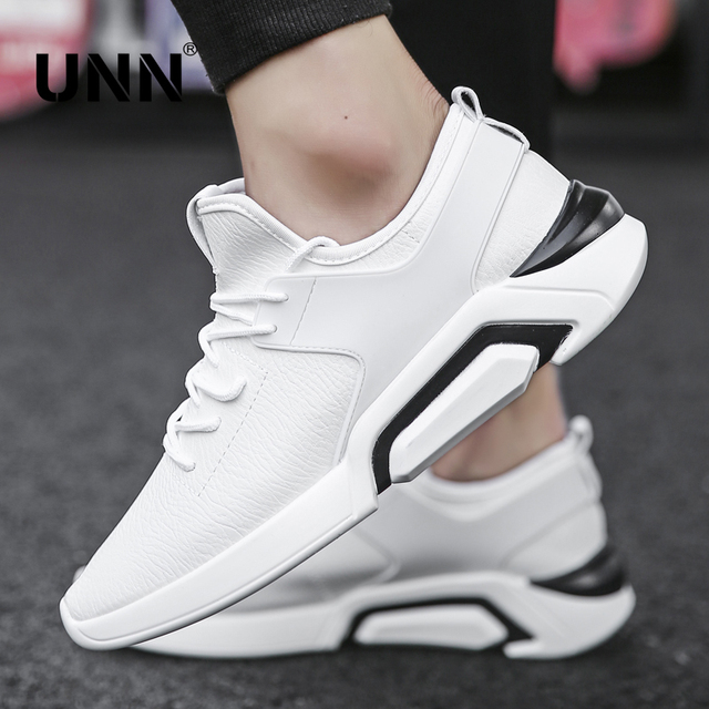 UNN New Arrivals Mens Running Shoes White PU Leather Jogging Sneakers Lightweight Outdoor Fitness BOY Sport Shoes Male Black