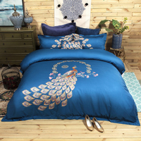 4Pcs luxury Egypt cotton Satin Peacock wedding Bedding Set Embroidery Duvet cover set Bed Sheet Pillowcases Queen King Size