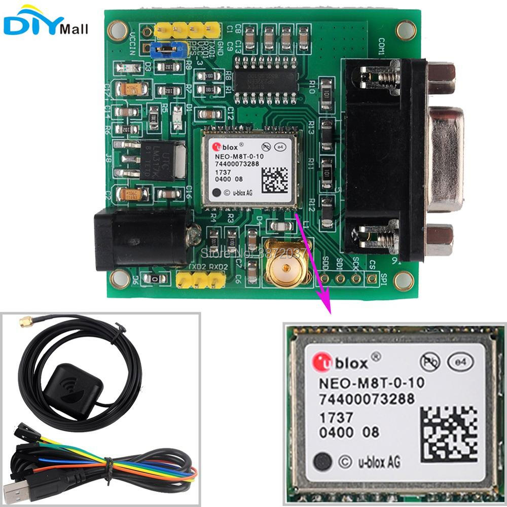 Original NEO-M8T GPS Module Glonass GLNS Development Board RS232 with Antenna Female to Female Cable for Ublox GPS Arduino freeshipping ublox neo 6m gps module with eeprom for mwc aeroquad with antenna
