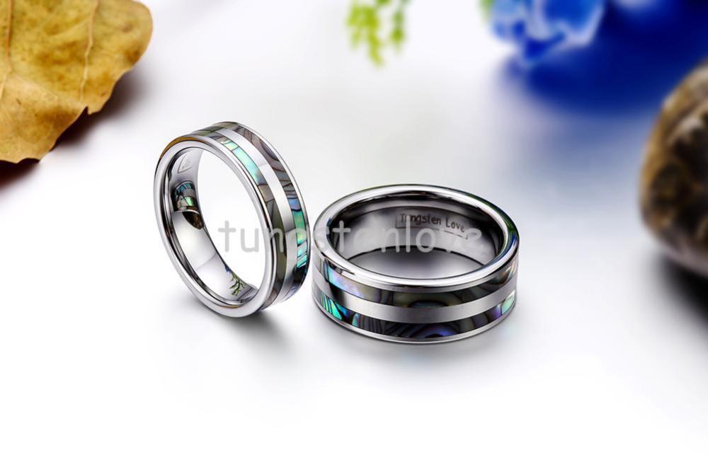 BONISKISS High Polish Tungsten Engagement Rings Set med Double - Märkessmycken - Foto 2