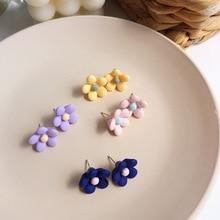 Lovely Jewelry Flower Purple Blue Pink Yellow Fancy Stud Earrings For Woman Gift