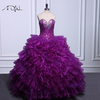 ADLN Elegant Corset Purple Quinceanera Dresses Real Photo Ball Gown Organza Debutante Gown Customized Sweet 15 Dress