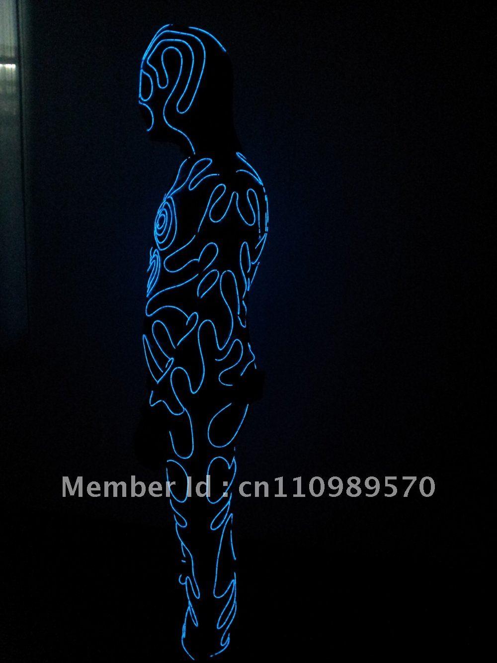 E0027 EL Wire dance costumes, EL Wire clothing, Neon light suit for ...