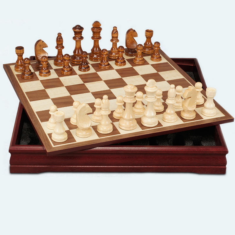 BSTFAMLY wood chess set game, portable game of international chess, box chessboard wood chess pieces, M L two size, LA12 bstfamly carving wooden chess set game portable game of international chess folding chessboard wood chess pieces chessman i13