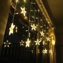 2 M スター妖精クリスマススターストリングライトガーランド Led カーテン結婚式/ホーム/パーティー/庭/ 誕生日装飾照明