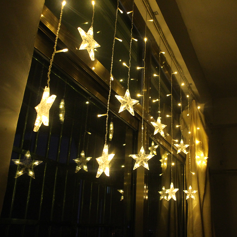 2M Star Fairy Lights Christmas Star String Lights Garland Led Curtain Wedding Home Party Garden Birthday Decoration Lighting