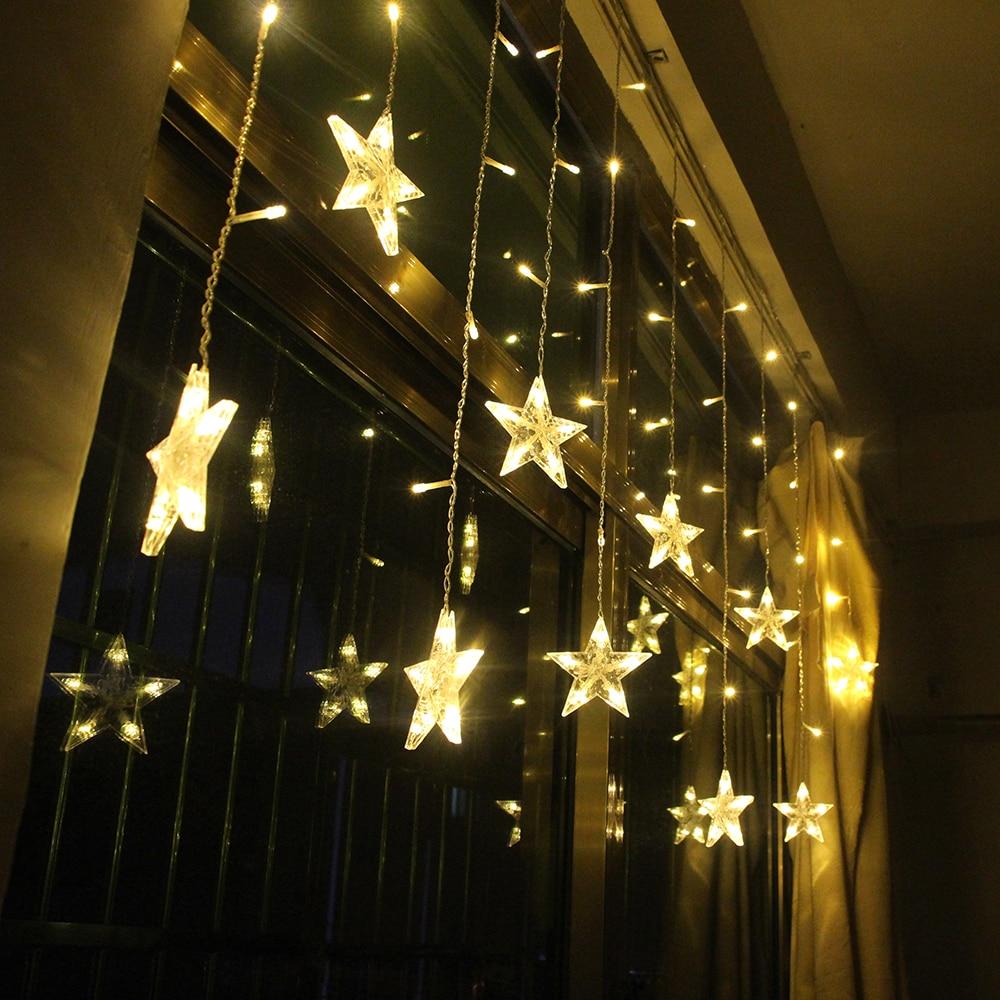 2M Star Fairy Lights Christmas Star String Lights Garland Led Curtain Wedding/Home/Party/Garden/Birthday Decoration Lighting