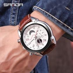 Chronograf Megir mężczyźni zegarek Relogio Masculino skórzany biznes zegarek kwarcowy zegar mężczyzna mężczyźni kreatywny armii wojskowe na rękę zegarki