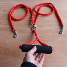 1pcs Double Dog collar and Leash set Braided Nylon Led dog Coupler For Training Two Dogs Headed Traction Rope 2019
