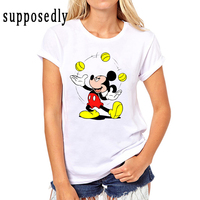 New Mickey Women T Shirts Short Sleeve Lady Print Female Short Sleeved Round Cartoon Tops Tee